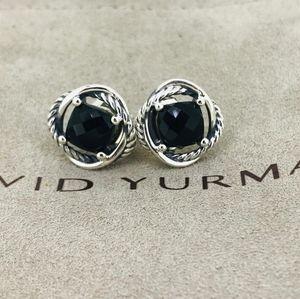David Yurman Infinity Earrings with Black Onyx